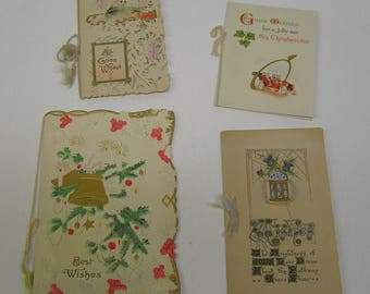 Antique Christmas Cards Booklets Signed Collection Of 4