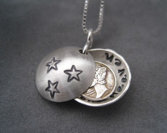 From Heaven Necklace - Dime Coin -Personalized Locket - Locket- Pendant - Memorial Locket - Dime Necklace - Angel Sent From Heaven