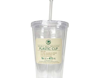 16 oz Clear Double Wall Plastic Tumbler with Lid and Straw, New, BPA Free, DIY Vinyl