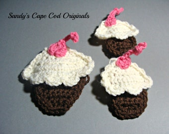 small and large cupcake appliques ONLY crochet pattern PDF 243A