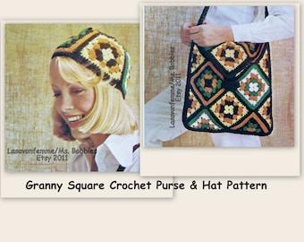 Granny Square Hat & Purse - PDF Pattern 90613 - Instant Download