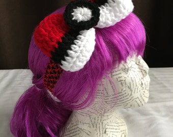 Crocheted Pokeball/Pokemon Inspired Hair Bow-Alligator Clip-heaband-6 by 3.5 inches