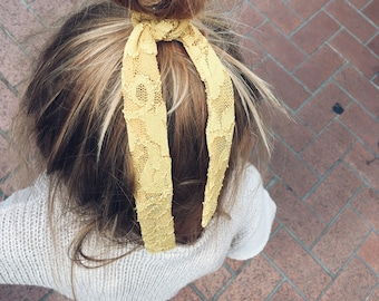 Golden lace ponytail scarf & headband