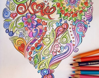 LOVE-Butterfly and heart- 2 colouring pages-Instant digital download