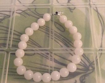 White jade round bead bracelet
