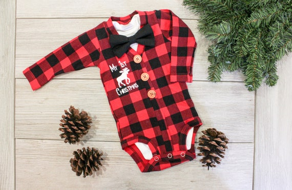 Baby Boy Christmas Outfit. Buffalo & Buffalo Plaid Cardigan. Baby Boy Christmas Outfit. Buffalo