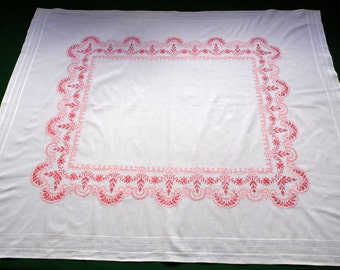 Big Vintage white cotton tablecloth amazing Floral cross stitch embroidery hand embroidered table cloth Cross Stitch