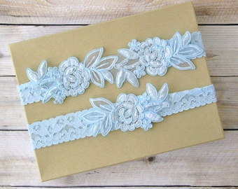 Light Blue Embroidery Flower Lace Wedding Garter Set, Light Blue Garter Set, Toss Garter , Keepsake Garter,Something Blue  / GT-34A