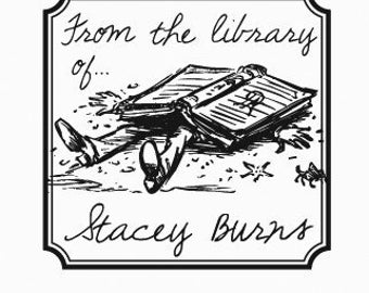 Crushed Under a Huge Book Personalized Ex Libris Bookplate Rubber Stamp F28