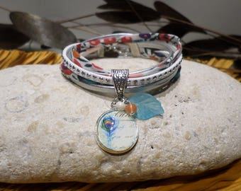 Bracelet cabochon turquoise Peacock feather liberty brick orange flowers silver leather retro women teen gift