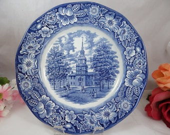 Vintage Liberty Blue Blue and White Dinner Plate - Independence Hall - 7 available