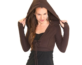 Crop corset front jacket with hood - JEDI CROP JACKET- festival clothing, choli, elven clothing, dance wear, bellydance, coverup, Thumbholes