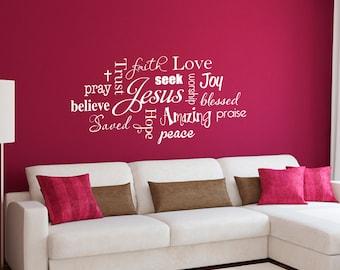 Christian Wall Decal - Jesus Subway Art - Trust Jesus - Joy Faith Love - Large