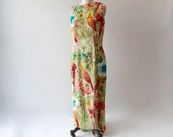 Tropical Parrots Silk Burnout Maxi Dress / 1980s Hand Painted Foral Silk Flocked Botanical Evening Gown / Medium / Tall