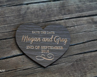 Free shipping! Wedding save the date magnets, eco dark wood magnet save the date by Oxee, love heart style