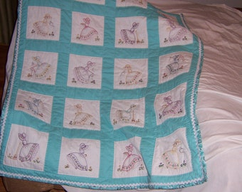 Aqua -Handmade - lap quilt - blanket - Little Maids - hand embroidery-appx. 125 hrs-one of a kind - SHIPS FREE!!!