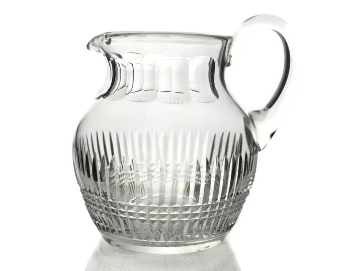 Saint Louis Crystal Tommy Pattern Water Pitcher. Vintage French Crystal Water Jug. Holiday Table Decor.