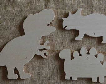 Wooden Creatures, Wooden Dinosaurs, Dinosaur Cut Out, Wooden Shapes, Nursery, Baby Room, Wall Art