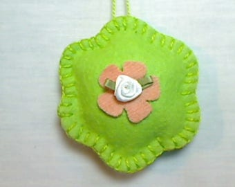 Light Green Felt Flower Ornament | Spring Decor | Party Favor | Mother's Day | Hand Stitched | Holidays | Tree Ornament | Handmade Gift | #5
