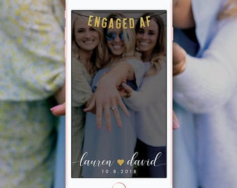 Engaged AF Snapchat Geofilter, EngagedAF Snapchat Filter, Newly Engaged Wedding Filter, Custom Engagement Party Snapchat Filter