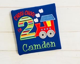 Embroidered Train 1st Birthday 2nd Birthday Train Shirt -  Choo Choo I'm 1 Birthday Shirt - Personalized Boy Birthday Shirt