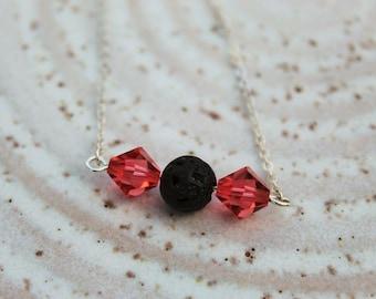 Swarovski Crystals and Lava Stone Diffuser Necklace