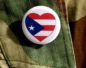Puerto Rico Heart Flag Bandera Button Badge