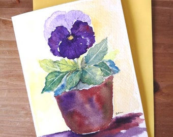 Purple Pansy Flower Original Watercolor painting card A6