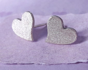 Sterling Silver Sparkle Finish Heart Earrings, Heart Stud Earrings, Love Heart Studs, Frosted Silver Hearts, Mother's Day, Valentine's Day