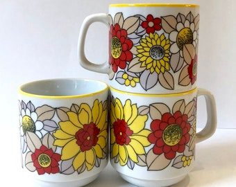 Steatita Porcelain Floral Mug Set // 3 Vintage Floral Mugs // Made in Brazil // 1980's