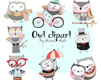 Cute owl Clipart, Owl Clipart,animal clipart PNG file-300 dpi