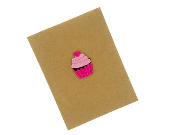 Happy Valentine's Day - Handmade Chocolate with Pink Frosting Felt Cupcake - Kraft Colored Valentine's Day Card made from Cardstock