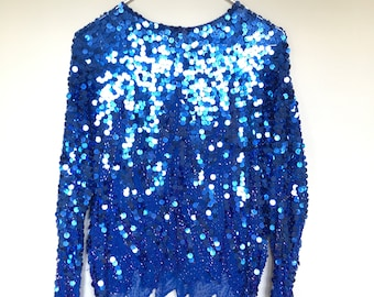 Vintage Royal Blue Beaded Long Sleeve Blouse / Sequins / Blouse / Retro