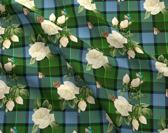 Tartan Rose Fabric - Caledonian Floral Tartan By Lilyoake - Scottish Plaid Green Blue White Rose Cotton Fabric By The Yard With Spoonflower