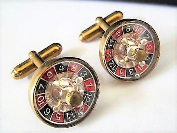 Roulette Wheel Cufflinks, Signed Austria, Mother of Pearl Center, Red Black Enamel Numbers, Gift for Man