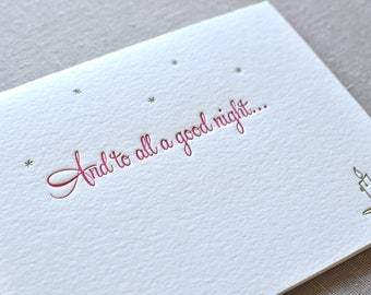 And To All A Good Night Letterpress Card & Envelope