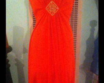 Vintage 70s beaded center with stone maci dresss