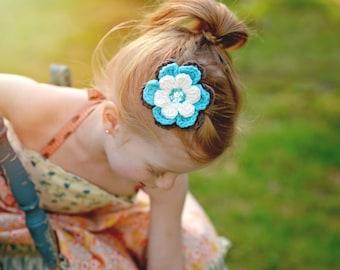 Hair Clip Crochet Flower Hair Clip Cream Hair Clip Turquoise Blue Hair Clip Turquoise Hair Clip Brown Hair Clip Flower Barrette Spring
