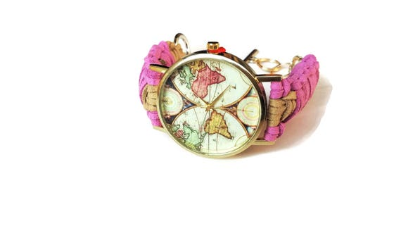 World map watch women world watch pink faux leather watch like this item gumiabroncs Image collections