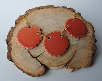 Handmade Ceramic Necklace | Coral & Gold Pottery Necklace