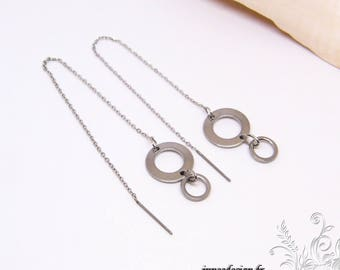 Dangle earrings, dangle chain, disc, circle, round, enlivened, stainless steel