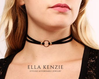 Circle Choker Necklace, Black Choker Necklace Circle, Circle Neck Choker Necklace, Circle Pendant Choker Necklace, Double Layer Choker Black