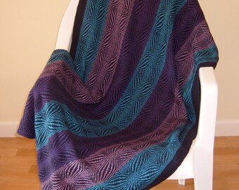 Handwoven Purple and Blue Afghan, Lap Blanket, Cotton Blanket, Snuggle Blanket, Made to Order Throw, Wheelchair Blanket, Chair Throw