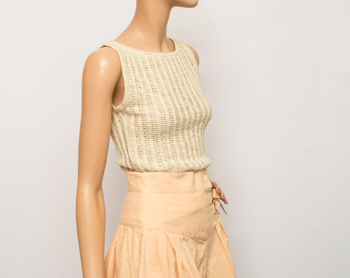 NOS vintage 90s knit sweater ribbed beige vest