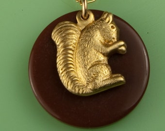 Vintage Squirrel and Acorn Necklace