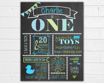First Birthday Chalkboard Poster for Boy (3 Sizes Available) blue green aqua all about me all about baby favorite height weight teeth
