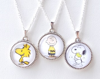 Snoopy necklace Charlie Brown Pendant Woodstock charm Peanuts characters accessories Children's jewelry Stocking stuffer