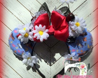 Stunning Mary Poppins // Flowers // Poppins Mouse Ears Handmade OOAK RTS Headband!!