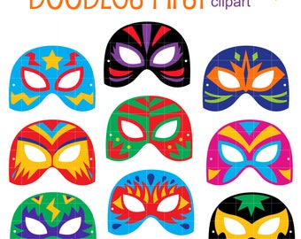 Lucha Libre Masks Clip Art Set for Scrapbooking Card Making Cupcake Toppers Paper Crafts