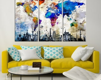 Large Wall Art World Map Watercolor Canvas Print  - World Map Wall Art Canvas Print - World Map Push Pin Wall Art - World Map Wall Art